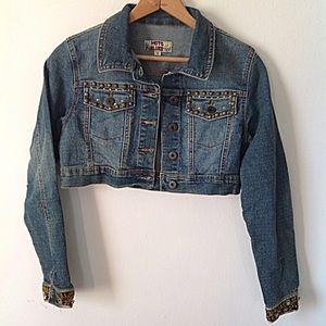 🌻 Embellished Late 90's Crop Denim Jacket 🌻